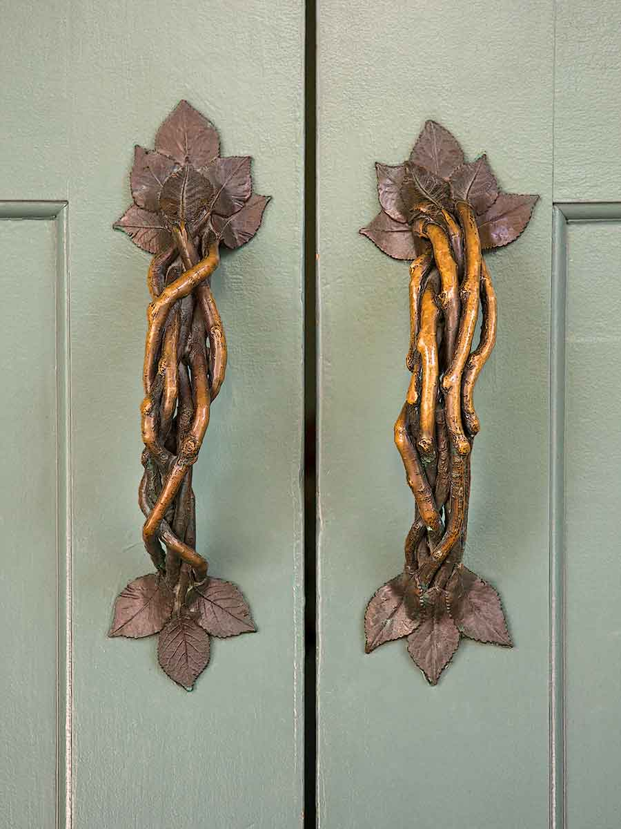 Ornate door handles at Lied Lodge